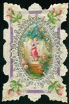 Charming Valentine - Roses with Applied Silk Purple Ribbon and Leaves with Scrap Center of a Young Girl on a Forest Stage