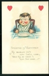 "Valentine Post Card - Boy Holding Spoon and Fork ""Can She Cook?"""
