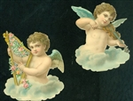 "4"" Scrap Winged Musical Cherubs Playing the Harp and Violin"