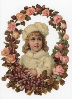 "10"" Embossed Die-cut Victorian Scrap Snow Angel in Rose and Winterberry Wreath - Mica Enhanced"