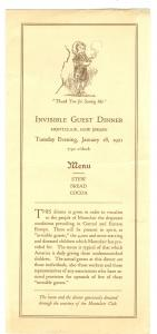 Invisible Guest Dinner, 1921Montclair European Relief Committee, NJ for Czecho-Slovakia Children .
