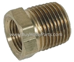 Brass pipe bushing adapts 1/2 inch FPT to 3/8 inch FMT