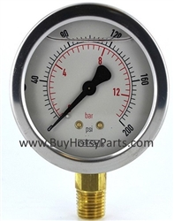 200 PSI Stainless Steel Bottom Mount Pressure Gauge 8.710-272.0