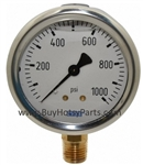 1000 PSI Stainless Steel Bottom Mount Pressure Gauge 8.710-278.0