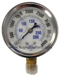 4000 PSI Stainless Steel Bottom Mount Pressure Gauge 8.710-283.0