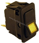 8.716-036.0 Amber Lighted Rocker Switch, 15 amp 12 volt, for burner control switch on Hotsy hot water pressure washers