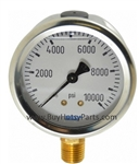 10000 PSI Stainless Steel Bottom Mount Pressure Gauge 98040010
