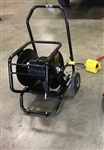 Hands Free Sewer Cleaning Kit with Hose Reel, Hose Reel Cart, Sewer Cleaning Nozzles and Foot Controlled Valve