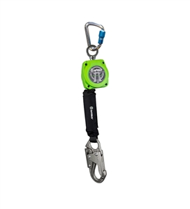 SafeWaze 019-5048 SRD Series 6 foot self retracting web lifeline with steel snap hook, swivel top attachment point and aluminum carabiner