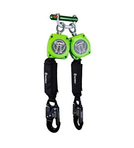 SafeWaze 019-5053 SRD Series Dual Leg 6 foot self retracting web lifeline with aluminum snap hooks, swivel top attachment point and 9013 behind the web bracket