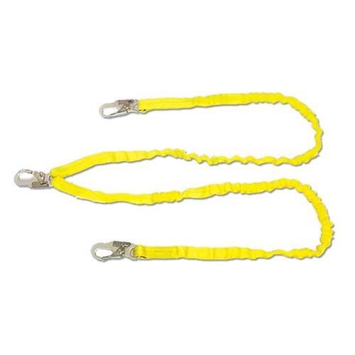 Guardian 11202 foot <b> double leg internal shock absorbing </b> lanyard with locking snaphooks on each end.