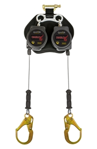 Guardian 11076 Diablo LE 8 Foot Twin Leg Retractable Lifeline With Steel Rebar Hooks And Quick-Bracket Harness Connector
