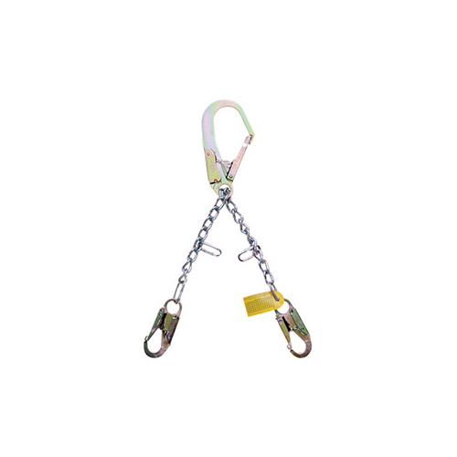 Guardian 01605 24 inch <b> rebar chain assembly </b> with rebar hook on one end and self-locking snaphooks on the other end.