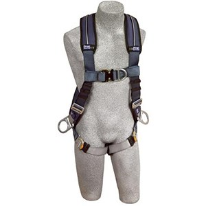 DBI/SALA 1109751 <b>ExoFit XP Vest-Style</b> Full Body Harness With <b>Back, Side And Front Dee Rings, Built-In Belt Loops, Removable Padding</b> And <b>Quick-Connect Buckle</b> Leg Straps.  <b>Size-Medium</b>.