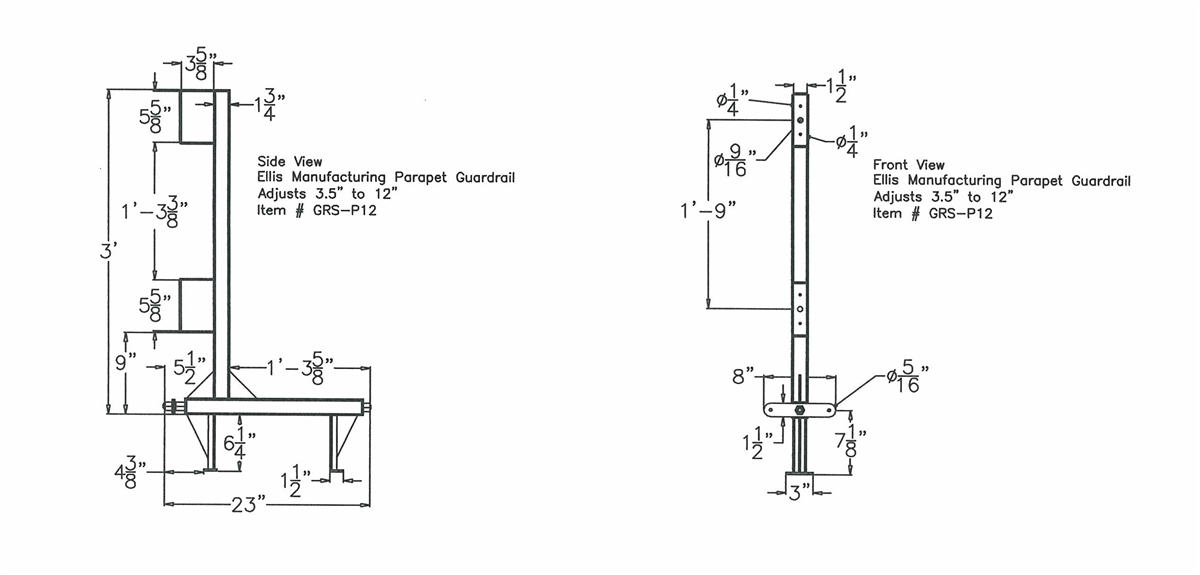 ellis grs p12a parapet clamp guard rail stanchion rh peaksupplycompany com Residential Electrical Wiring Diagrams Schematic Diagram