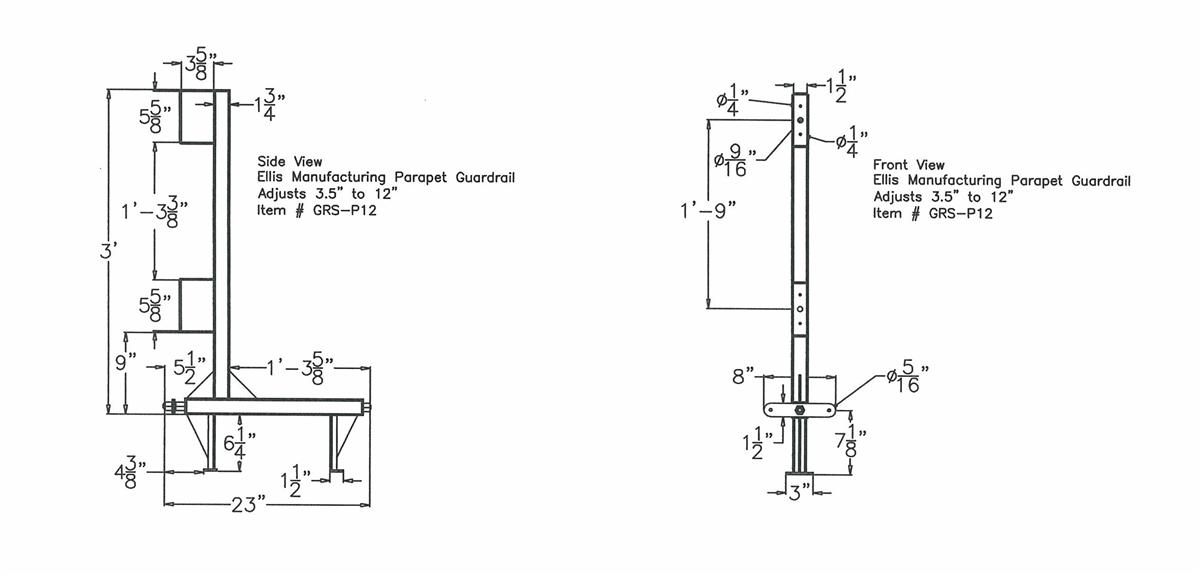 ellis grs p12a parapet clamp guard rail stanchion aircraft wiring diagrams ellis wiring diagram #27