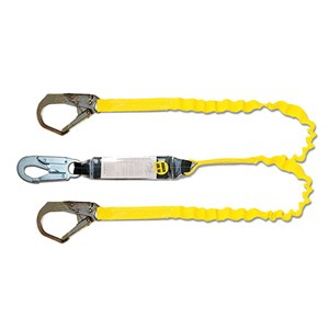 Guardian 11903 Tiger Tail Stretch Double Leg Shock Absorbing Lanyard With Rebar Hook
