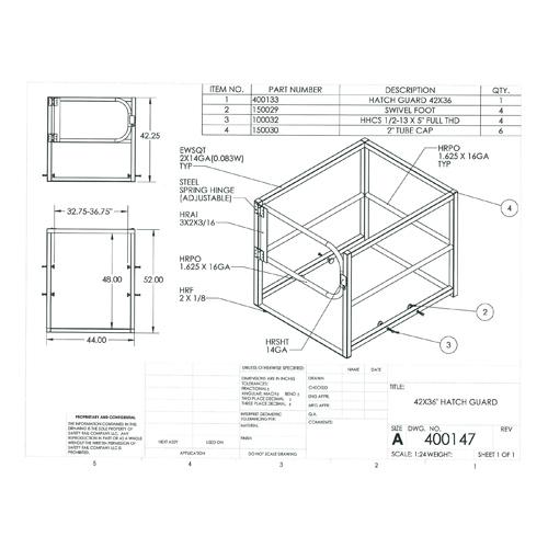 Safety Rail Company 400147 Hatch Guard Roof Hatch Railing