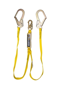 Guardian 21303 Big Boss Extended Free Fall Double Leg Shock Absorbing Lanyard With Rebar Hooks
