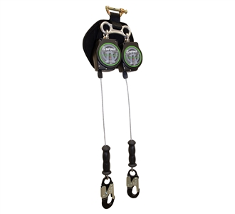 SafeWaze SW-8008-11LE-ALU-DL 11 foot twin leg leading edge self retracting galvanized cable lifeline
