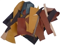Leather Cuts, Goat & Calf - Small Pieces, 1 Lb., Various Colors