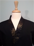 Happi Sushi Chef Coat, Serving Short Kimono, gold black collar on black