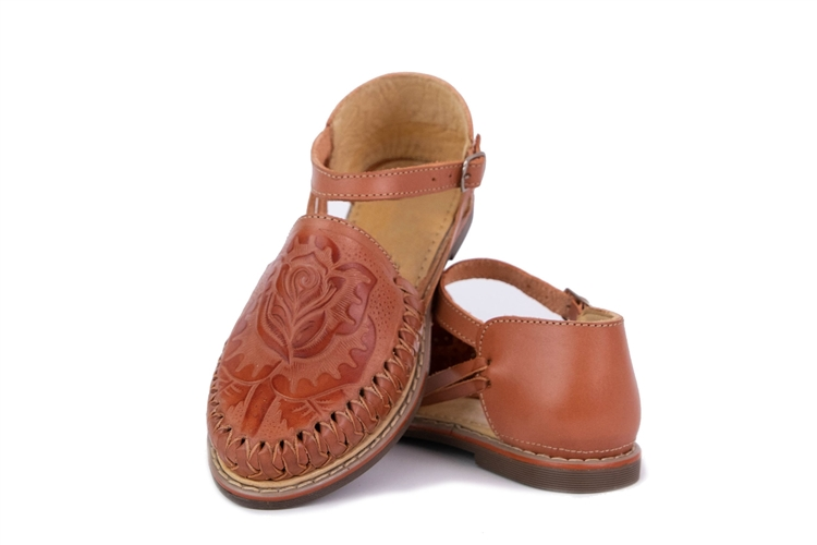 0b2d5cfc9f21 Women s Closed Toe Tooled Huaraches Sandals Brown