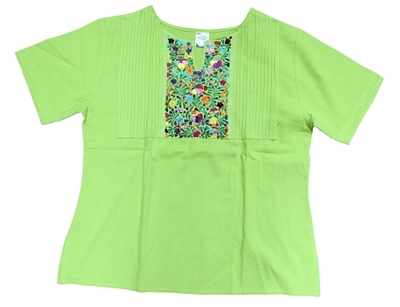 Mexican Embroidered Florecita Blouse - Lime Green