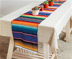 Mexican Classic Serape Table Runner - Multi Royal Blue