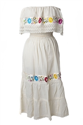 Mexican Pueblo Crochet Dress - Beige