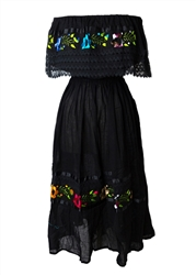 Mexican Pueblo Crochet Dress - Black