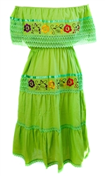 Mexican Pueblo Crochet Dress - Lime Green