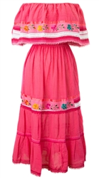 Mexican Pueblo Crochet Dress - Pink
