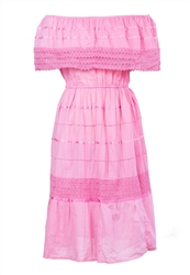 Mexican Plain Crochet Dress - Pink