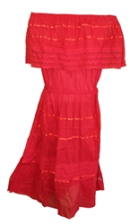 Mexican Plain Crochet Dress - Red