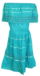 Mexican Plain Crochet Dress - Teal