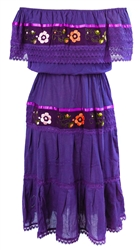 Mexican Pueblo Crochet Dress - Purple