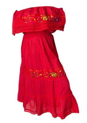 mexican pueblo crochet dress red