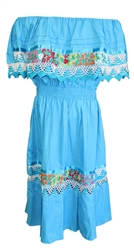Mexican Pueblo Crochet Dress - Turquoise w/White Crochet