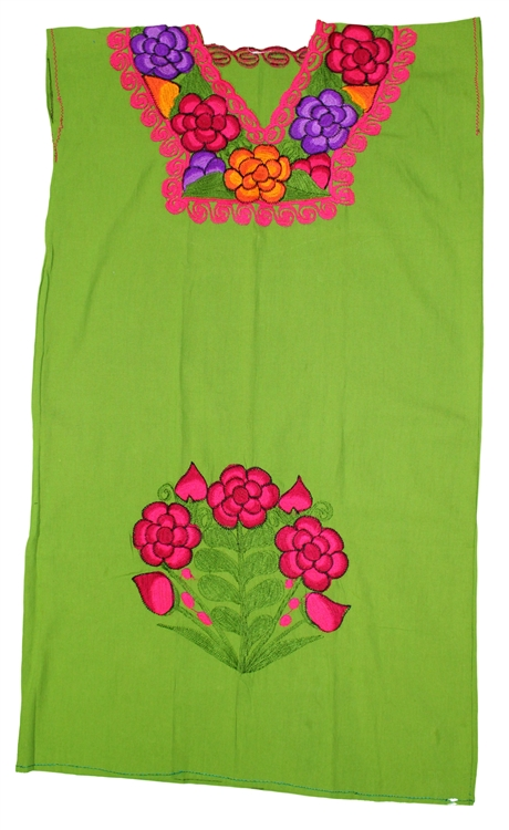 Oaxacan Embroidered Mexican Dress - Aguacate Green