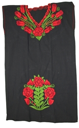 Oaxacan Embroidered Mexican Dress - Black