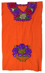Oaxacan Embroidered Mexican Dress - Orange