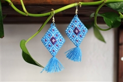 Buy Mexican Embroidered Earrings Handmade Mexico