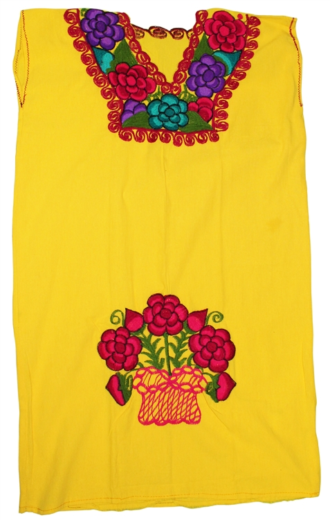 Oaxacan Embroidered Mexican Dress Yellow