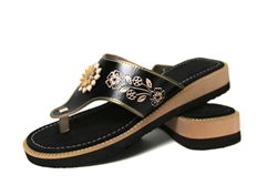Women's Wedge Huaraches Sandals - Flor Black