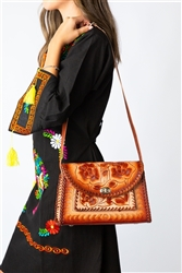 Mexican Hand Tooled Leather Purse - Cincelado 4