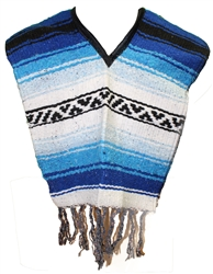 Kids Size Mexican Blanket Poncho - Blue