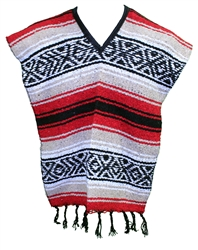 Kids Size Mexican Blanket Poncho - Tan Red
