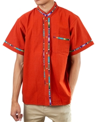 Men's Fiesta Button Down Shirt - Burnt Orange