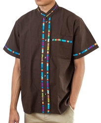 Men's Fiesta Button Down Shirt - Dark Brown